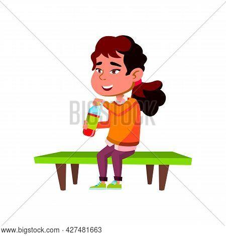 Girl Kid Drinking Soda Water On Park Bench Vector. Happy Asian Schoolgirl Drink Fruity Soda Water. T