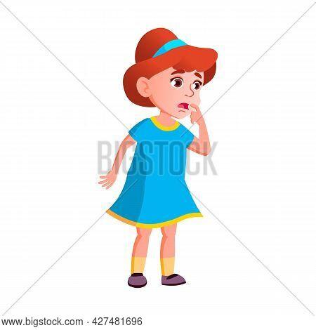 Shocked Girl Child Watching Scary Movie Vector. Surprised Shock Caucasian Schoolgirl Looking At Stor