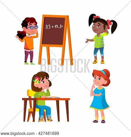 Thoughtful Girls Thinking About Problem Set Vector. Thoughtful Children Ladies Think About Solve Mat