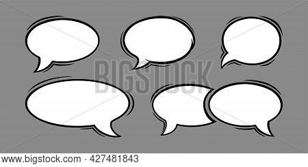 Circle Speech Bubbles In Comic Style. Oval Speech Bubbles Isolated In Grey Background. Handdrawn Vec