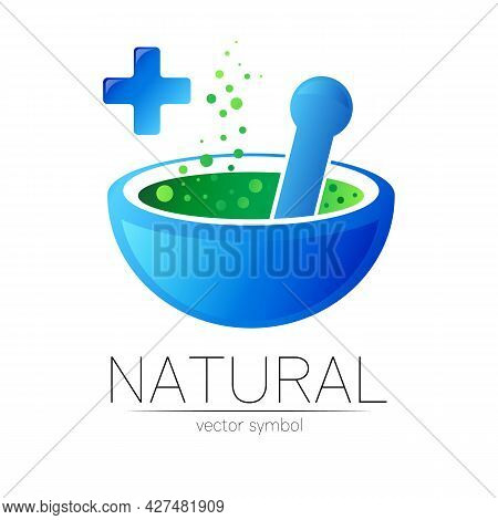 Blue Mortar And Pestle Vector Symbol With Cross. Logo Of Nature Herb Illustration. Concept For Ecolo
