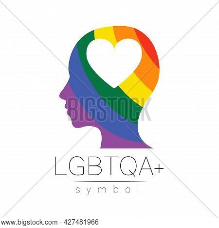 Vector Lgbtqa Logo Symbol. Pride Flag Background. Icon For Gay, Lesbian, Bisexual, Transsexual, Quee