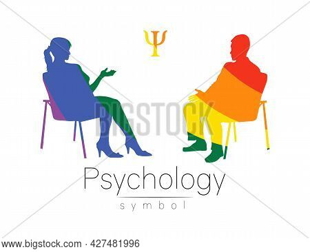 The Psychologist And The Client. Psychotherapy Session. Psychological Counseling. Man And Woman Silh