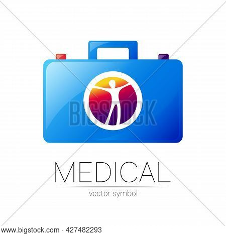 First Aid Logo Vector Medicine Symbol With Help Bag Case For Health Care Icon For Hospital