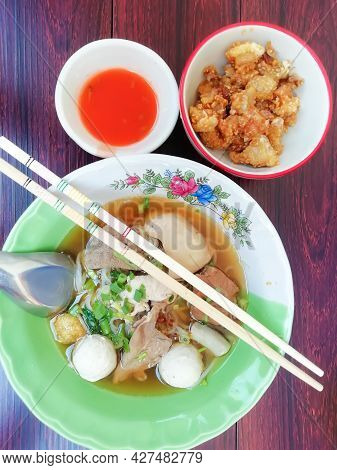 Noodles (Pork-Beef) Thickened Soup, special recipe, ancient recipe, thin noodles (noodles-rice), leg