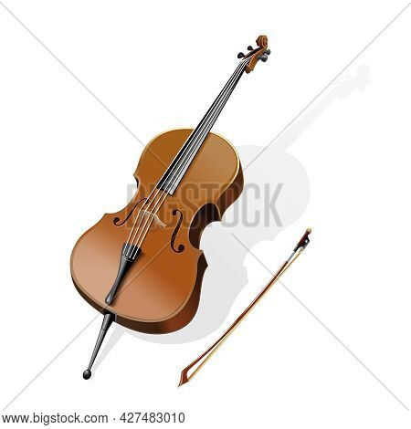 Classic Stringed Musical Instrument - Contrabass. Double Bass And Bow. Vector Illustration