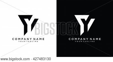 Y Letter Logo Design Template Vector. Black And White Background