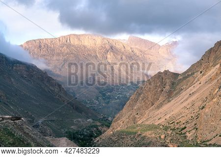 Peaks In The Valley Of Alborz Mountain Range Close To Mt. Damavand, Iran. Golden Hour In Majestic As