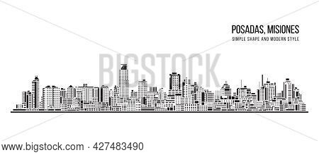 Cityscape Building Abstract Simple Shape And Modern Style Art Vector Design - Posadas, Misiones