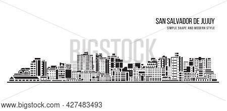 Cityscape Building Abstract Simple Shape And Modern Style Art Vector Design - San Salvador De Jujuy