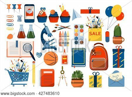 Back To School. Big Vector Set. Stationery For School, University And Office. Cartoon School Supplie