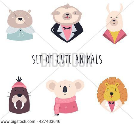 Set Of Funny Animals In Different Costumes