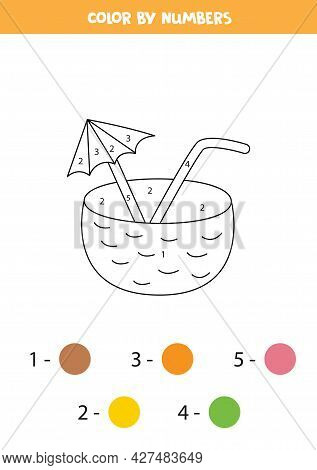 Coloring Page With Cartoon Coconut Cocktail. Color By Numbers. Math Game For Kids.