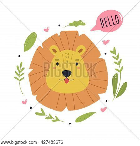 Illustration Of A Funny Lion Saying Hello. Vector Composition With Floral Elements