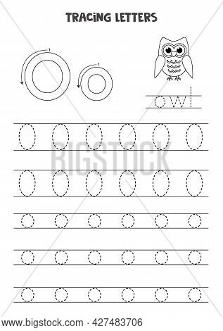 Trace Letters Of English Alphabet. Uppercase And Lowercase O. Handwriting Practice For Preschool Kid
