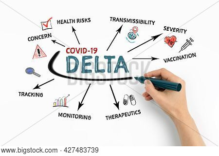 Covid-19 Delta. Risks, Prevalence And Security Concept. Chart With Keywords And Icons On White Backg