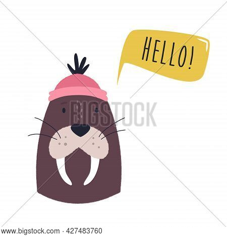 Funny Illustration Of Adorable Walrus In A Sailor Hat