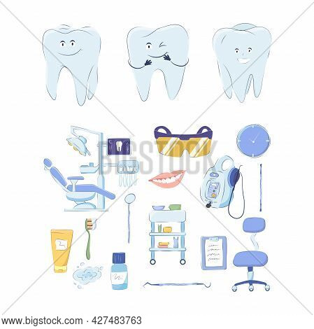 Dental Medical Set Of Design Elements Isolated On White Background. Vector Image Of Teeth, Equipment