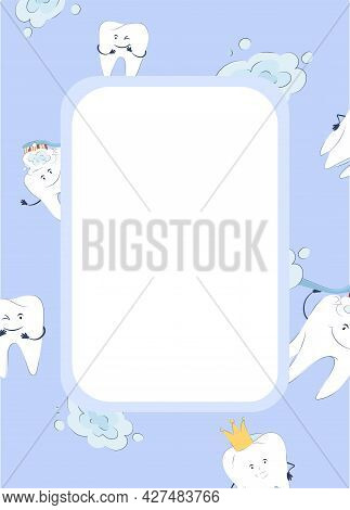 Dental Frame, Background For Text. Design Concept With Healthy Teeth. Vector Illustration In Cartoon