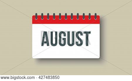 Vector Icon Day Calendar, Summer Month August