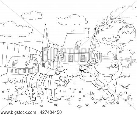 Farm Animals Coloring Book Educational Illustration For Children. Cute Cat And Dog, Rural Landscape