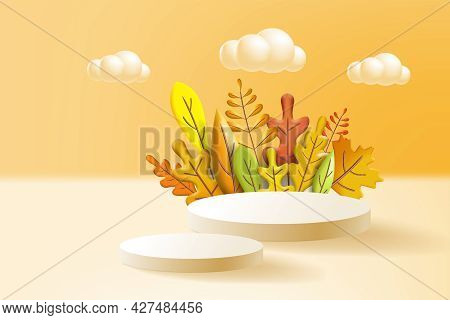 Autumn Leaves 3d Yellow, Red, Brown, Orange Colors. Fall Bouquet, Pedestal, Stage, For Background Pr