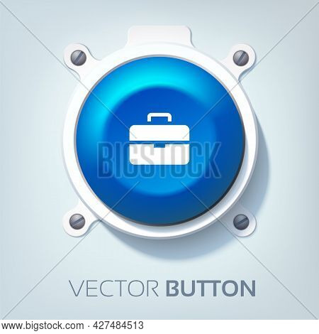 Web Interface Design Concept With Briefcase Icon Blue Round Button Attached To Gray Background Isola
