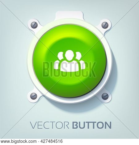 Web Interface Template With Team Icon And Green Round Button Attached To Gray Background Isolated Ve