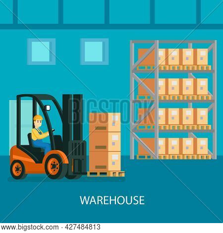 Warehouse Interior Colorful Composition With Forklift Truck With Driver Transporting Cardboard Boxes