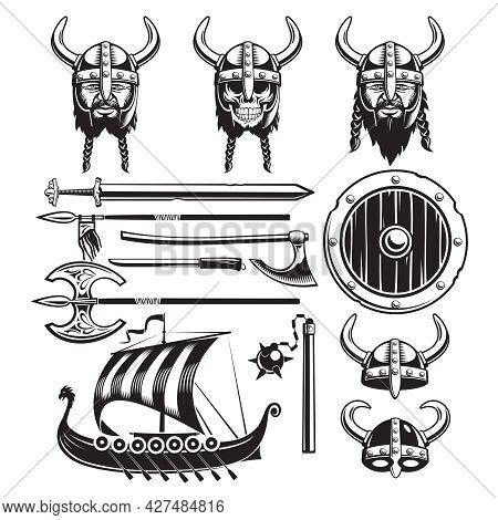 Vintage Viking Elements Set With Ship Horned Helmets Skull Bearded Face And Weapon Isolated Vector I