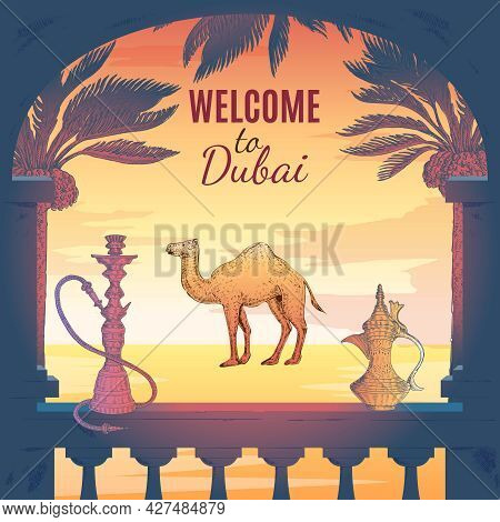 Hand Drawn Dubai Square Composition With Terrace Frame Pitcher Hookah Palms Skyscraper Icon And Deco