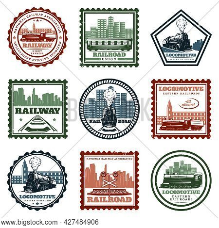 Vintage Locomotive Stickers And Stamps Set With Inscriptions Train Railroad Traffic Lights And Citys