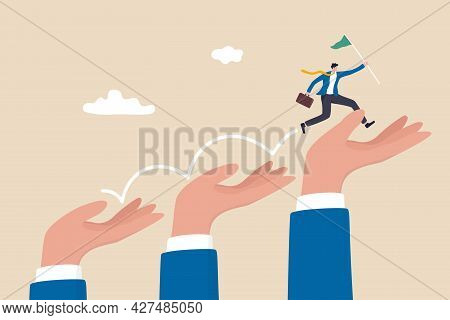 Business Support Or Mentorship To Assist Employee To Success, Helping Hand Or Encouragement For Team