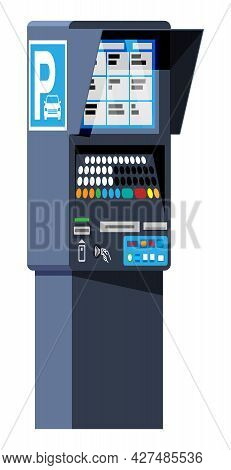 Parking Meter Isolated On White. Ticket Machine Icon. Modern Meters For Parking Lot. Authorized Mach