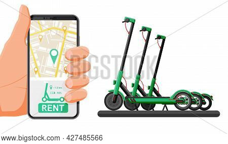 Renting Electric Scooter Concept. Hand With Smartphone And Kick Scooter. Rent Of Scooters Service, R