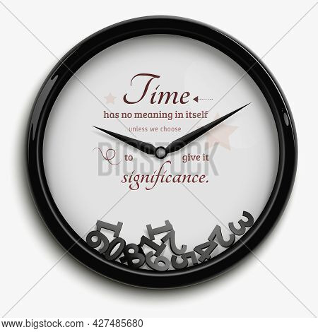 Wall Clock In Original Design With Time Stopped Isolated On White Background Vector Illustration