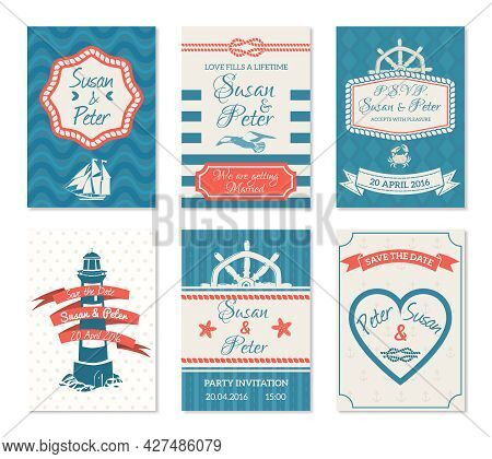 Flat Wedding Invitation Cards Set In Nautical Style With Marine Decoration Of Lighthouse Sea Waves H