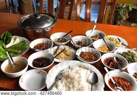 Burmese Local Food Set Lunch Meal Serve On Table For Burma People Foreign Traveler Eat Drink In Loca