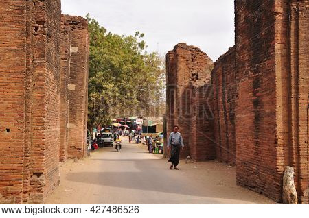 Antique Building Gate Entrance To Thiri Zaya Bumi Bagan Golden Palace For Burmese People Foreign Tra