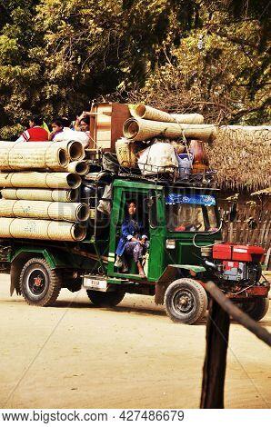 Tribe Ethnic Of Burmese Group Men Women Children Passenger Pickup Truck From Home Go Bazaar Street M