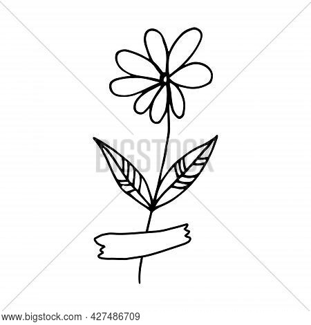 Abstract Flower Glued With Tape Icon. Hand Drawn Doodle. Vector, Scandinavian, Nordic, Minimalism, M