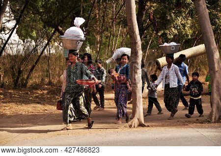 Tribe Ethnic Of Burmese Group Man Women Children Walking Carry Move Product Thing From Home Go To Ba