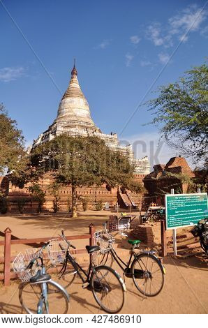 Shwesandaw Pagoda Pyay Temple Chedi For Burmese People Foreign Travelers Travel Visit Respect Prayin
