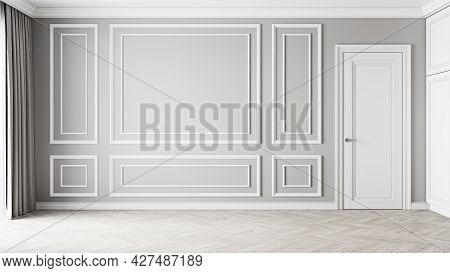 Classic Gray Empty Interior With Moldings And Door. 3d Render Illustration Mockup.