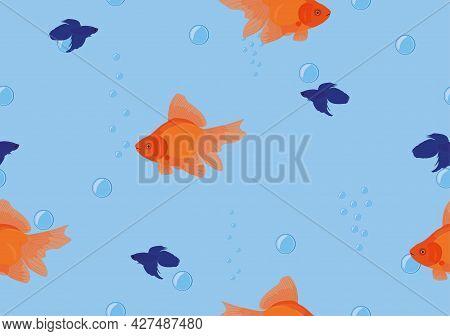 Seamless Background Tropical Fish Goldfish, Betta On Blue Colour