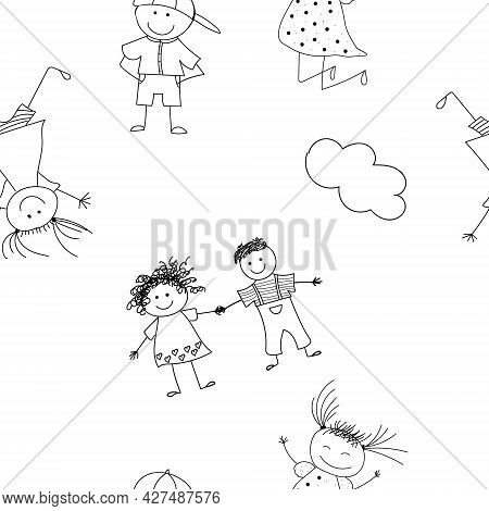 Seamless Pattern With Childrens Sketches. Funny Caricatures Of Children. Sketches With Children Play