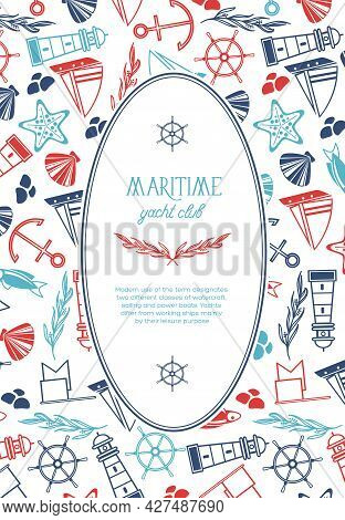 Vintage Marine Template With Text In Oval Frame And Hand Drawn Nautical Elements Vector Illustration