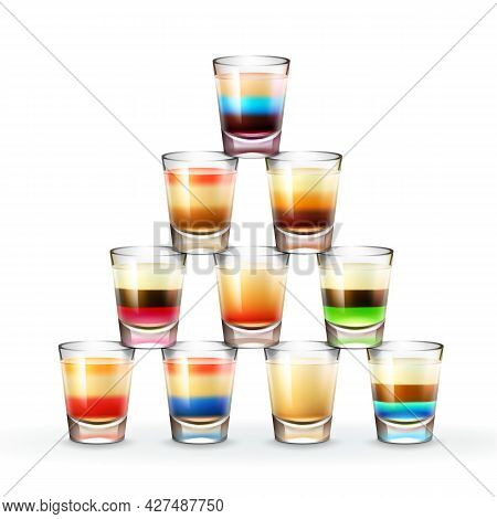 Vector Pyramid Of Different Colored Striped Alcoholic Shots Isolated On White Background