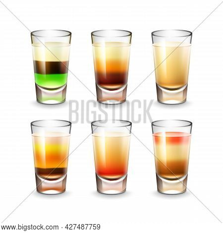 Vector Set Of Different Colored Striped Alcoholic Shots Isolated On White Background