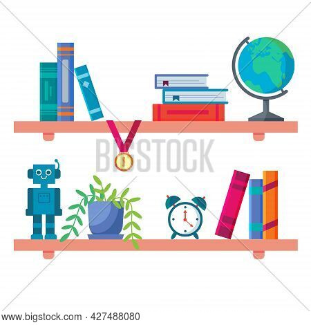 Bookshelf In Apprentice Boys Room. Detail Of The Bedroom Interior. Flat Cartoon Illustration Isolate